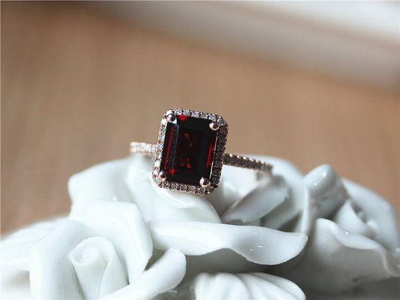 Emerald Cut Garnet Engagement Ring Rose Gold Garnet by ByLaris