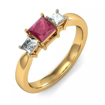 Diamond And Ruby Ring In 18KT Yellow Gold (2.442 gms) with Diamonds (0.2320 Ct)