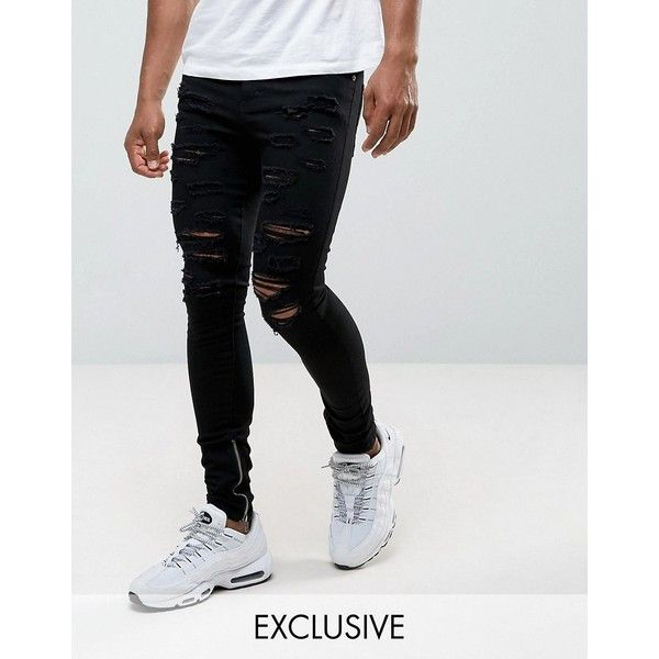 Granted Super Skinny Jeans In Black With Distressing And Zip Ankle ($86) ❤ liked on Polyvore featuring men's fashion, men's clothing, men's jeans, black, mens distressed skinny jeans, mens ripped skinny jeans, mens tall jeans, mens ripped jeans and mens super skinny ripped jeans