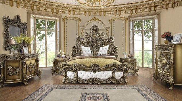 Hd 1802 Homey Design Bed Victorian Style Brown Finish In 2020