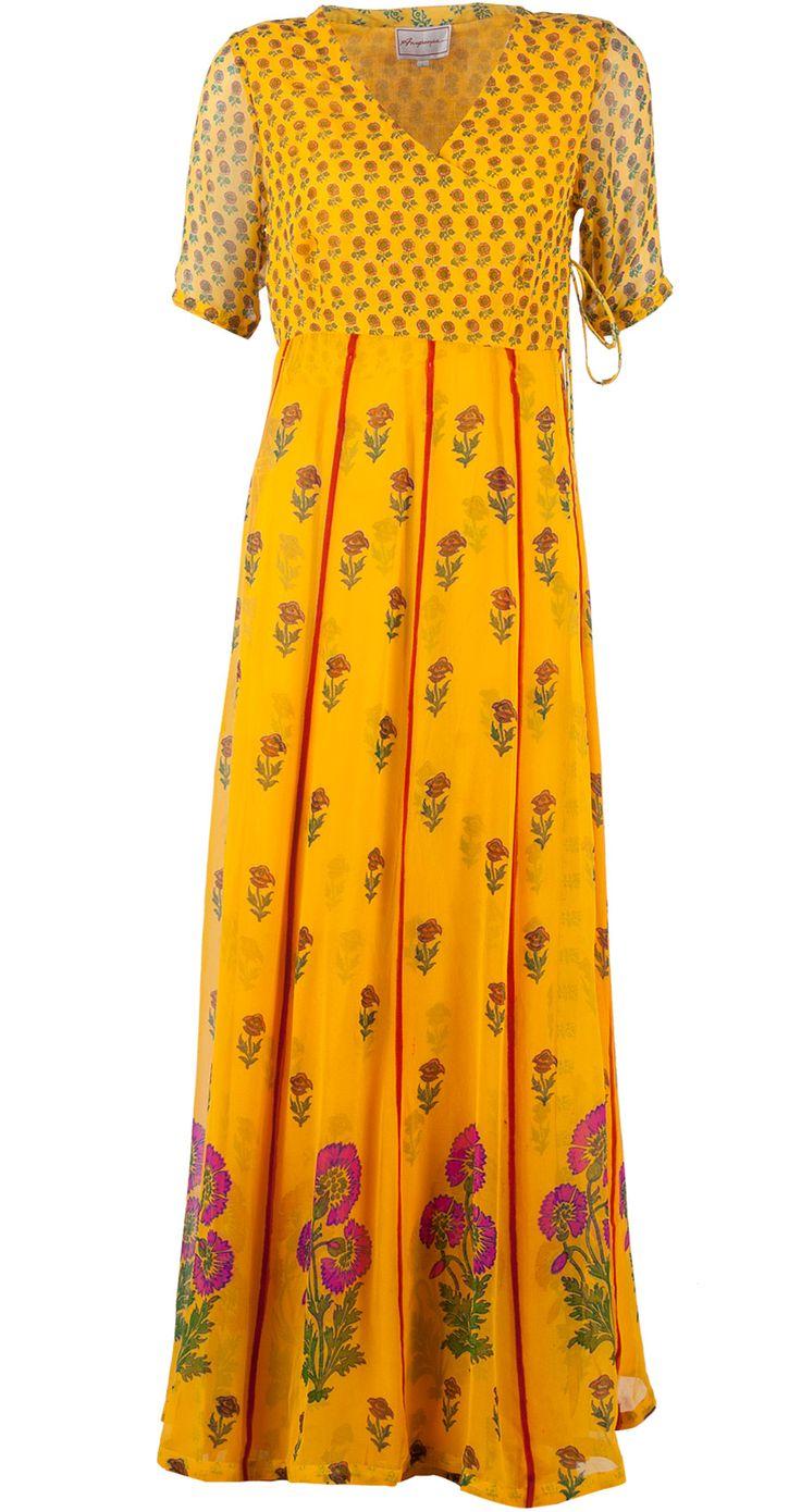 Yellow floral print kurta set by ANUPAMAA DAYAL. http://www.perniaspopupshop.com/designers-1/anupamaa-dayal/anupamaa-dayal-yellow-floral-print-kurta-set-adc0913as8642.html