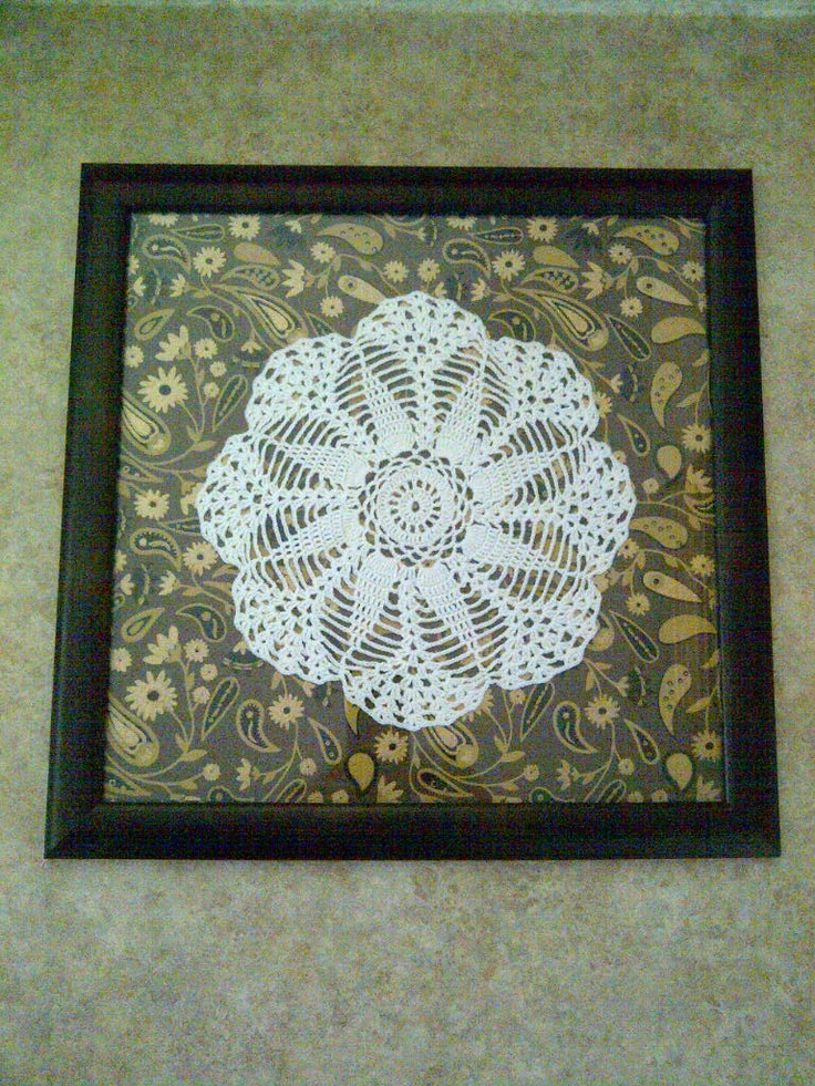 Do you have any doilies hidden away? Lace is VERY trendy right now, so put them on display in a new way!This Mom Loves: As Seen On Cityline: Framed Doily