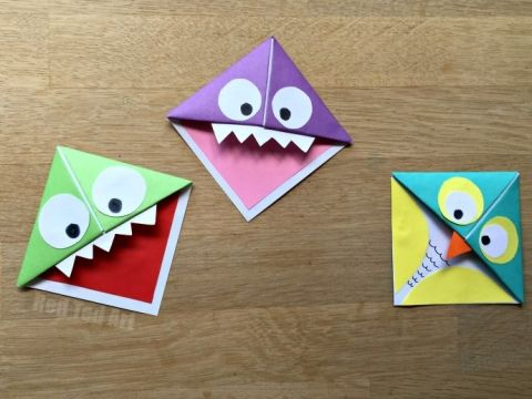 Fun & Easy Origami Corner Bookmarks - turn them into Monsters, Owls and wherever your imagination takes you. A great little gift for book lovers on Father's Day, Halloween or Teacher Appreciation