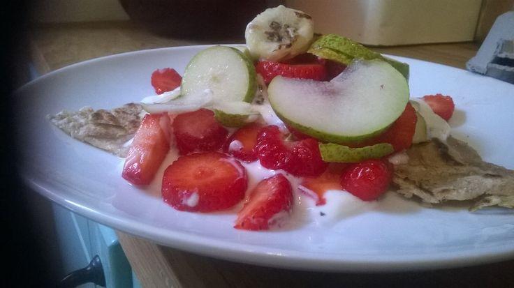 Buckwheat pancake with yog, pear, strawbs and half a banana brekkie #IQS
