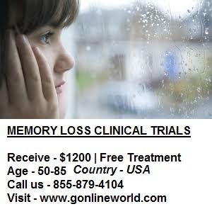 Don't let memory loss change your life. Join a research study today! Payment varies by study up to $1200.  #Gilbert #Phoenix #Bellflower #CostaMesa #Fullerton #Irvine #LagunaHills #Lomita #NationalCity #Oceanside #Riverside #SantaAna #SantaMonica #Denver #Brooksville #Jacksonville #Maitland #Melbourne #Ocala #OrangeCity #Orlando #OrmondBeach #StPetersburg #Tampa #TheVillages #Chicago #Schaumburg #Wichita #FarmingtonHills #CreveCoeur #OFallon #StPeters #MtArlington #Springfield #TomsRiver…