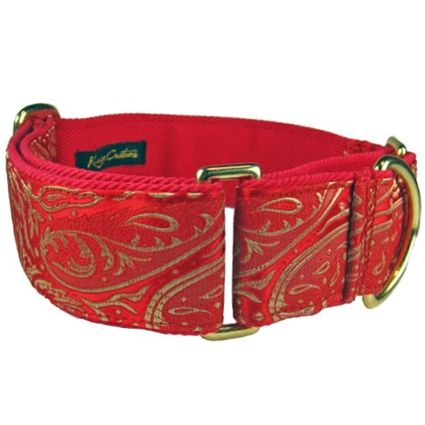 A red martingale collar for Greyhounds, Italian Greyhounds, Salukis, Scottish Deerhounds, Whippets.