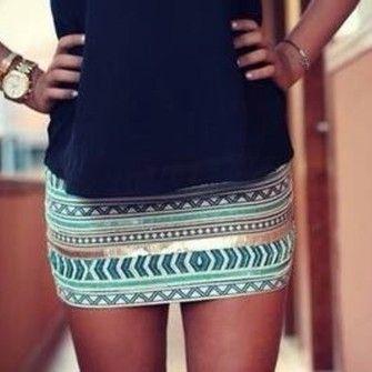 blue aztec gold glitter skirt