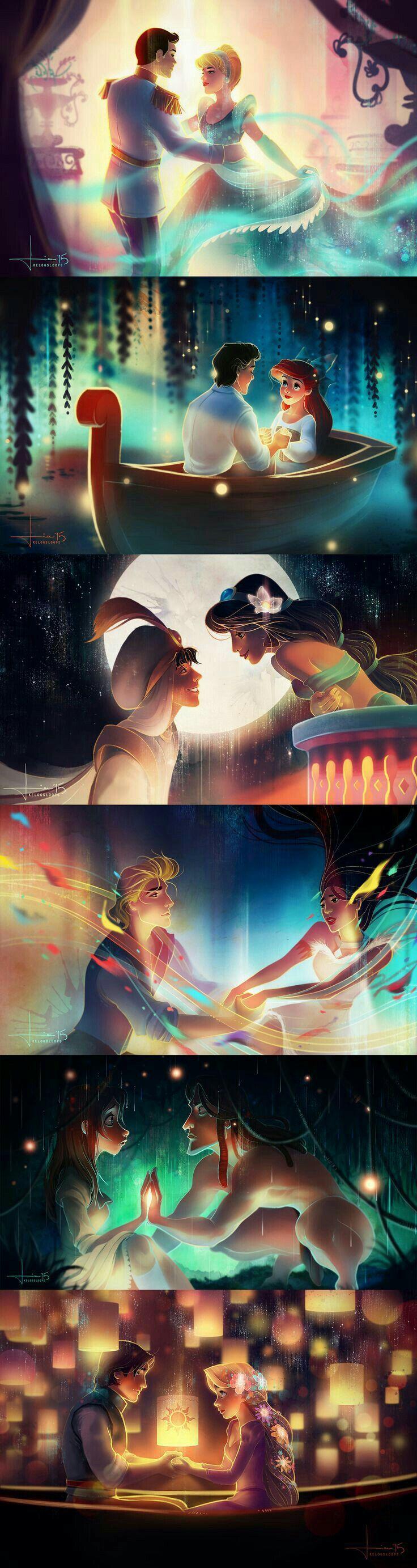 Prince Charming & Princess Cinderella, Prince Eric & Princess Ariel, Aladdin & Princess Jasmine, John Smith & Pocahontas, Tarzan & Jane, Eugene & Rapunzel