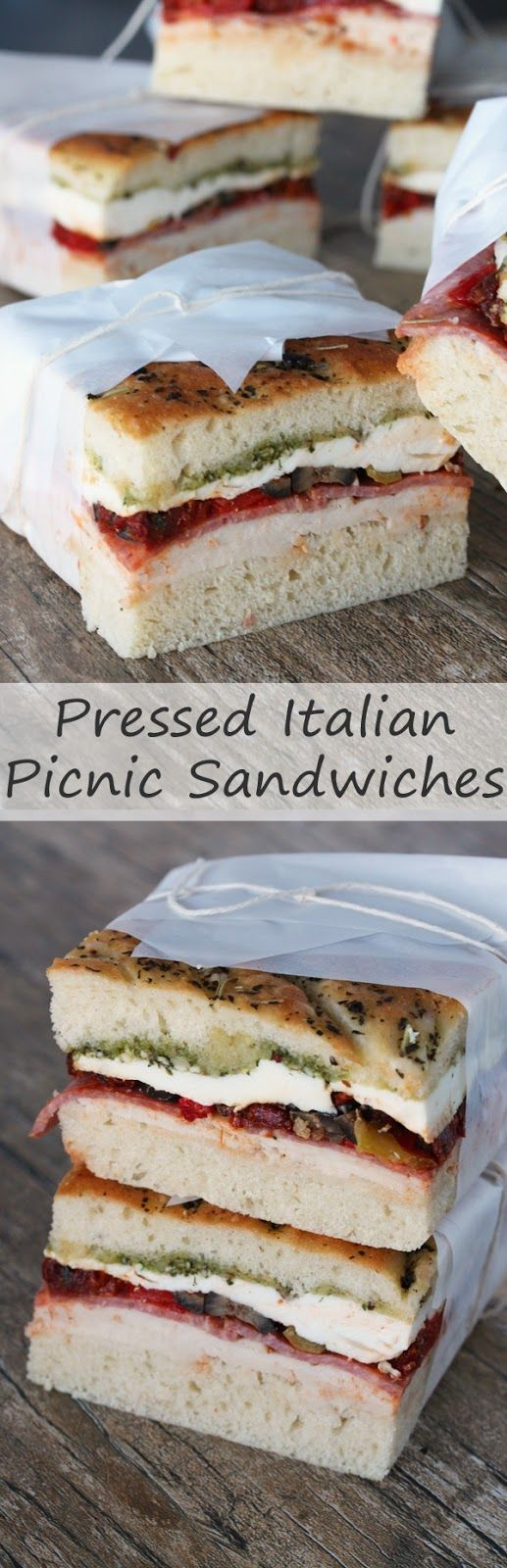 Pressed Italian Picnic Sandwiches with Walnut Pesto. Perfect for picnics and parties