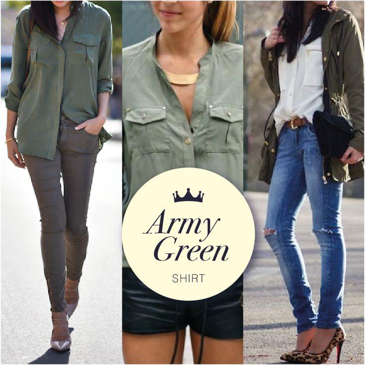 El estilo militar es un tendencia clave de la moda femenina contemporánea, y la blusa color verde caza con bolsillos delanteros es un item que se adapta perfectamente tanto al día como a las noches más guerreras! #sakdenim #sakwoman #trend #ilovesak #newarrivals #nuevacoleccion #trendy #girl #getthelook #tendenciademoda #fashion #trendalert #womanswear #womanstyle #lovefashion #clothingbrand #casuallook #armyfashion #chic #moda #modafeminina