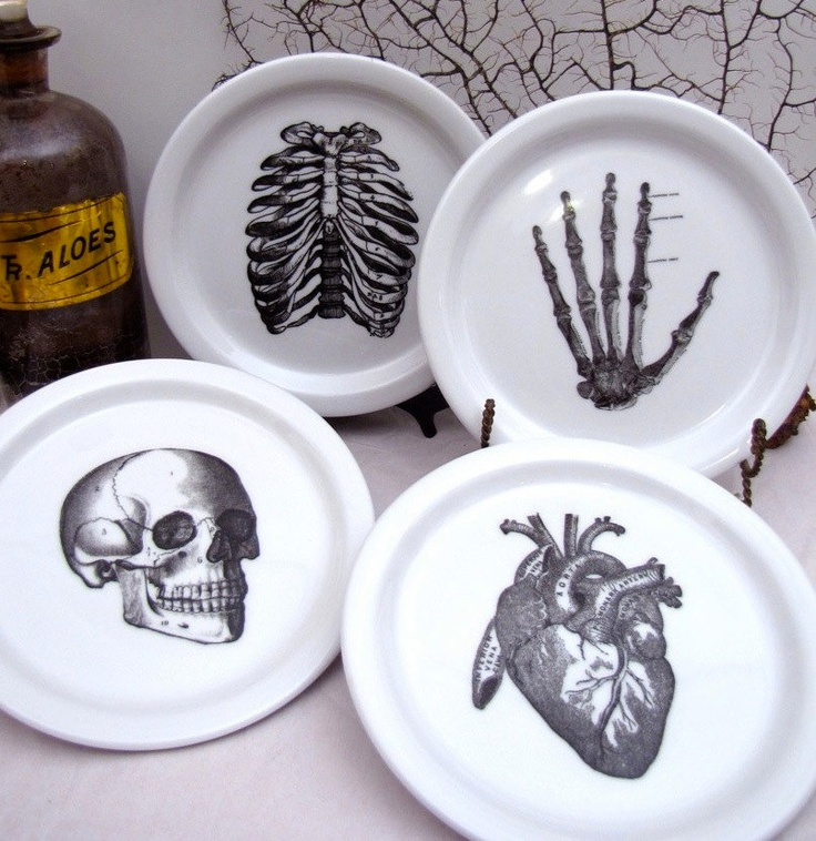 4 Anatomical Dishes Plates Skull Skeleton Hand Rib Cage Heart Halloween Party Decoration Bones Chase and Scout. $50.00, via Etsy.