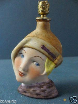 Art Deco 1925 Perfume Flask German Porcelain Lady Head Crown Top | eBay