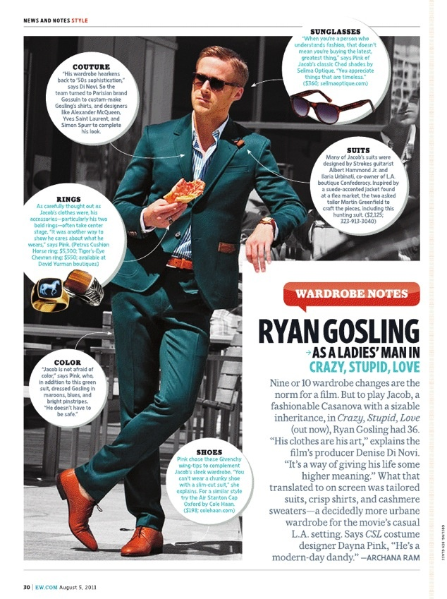 Ryan Gosling in Crazy Stupid Love. Click the link for a GQ interview with the costume designer.