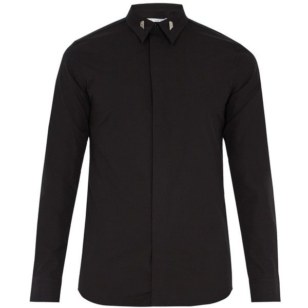 Givenchy Single-cuff collar-tipped cotton shirt (€395) ❤ liked on Polyvore featuring men's fashion, men's clothing, men's shirts, men's dress shirts, mens french cuff shirts, mens double cuff shirts, mens cotton dress shirts, mens slim fit shirts and mens french cuff dress shirts