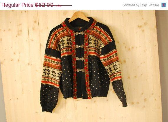 SALE Vintage 80's norwegian Wool sweater Knitted by kickassvintage