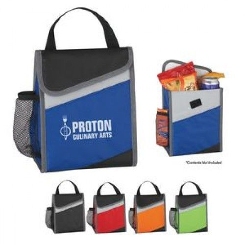 Promotional Lunch Bag. Made Of 70D Nylon. PEVA Lining. Main Compartment With Velcro Flap Closure. Front Pocket And Side Mesh Pocket. Spot Clean/Air Dry. http://www.houseofimprints.com/amigo-lunch-bag