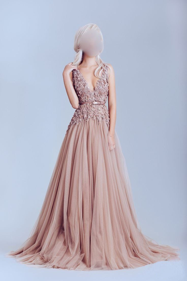 Deep v neckline lace prom dresses dusty pink prom dress a line