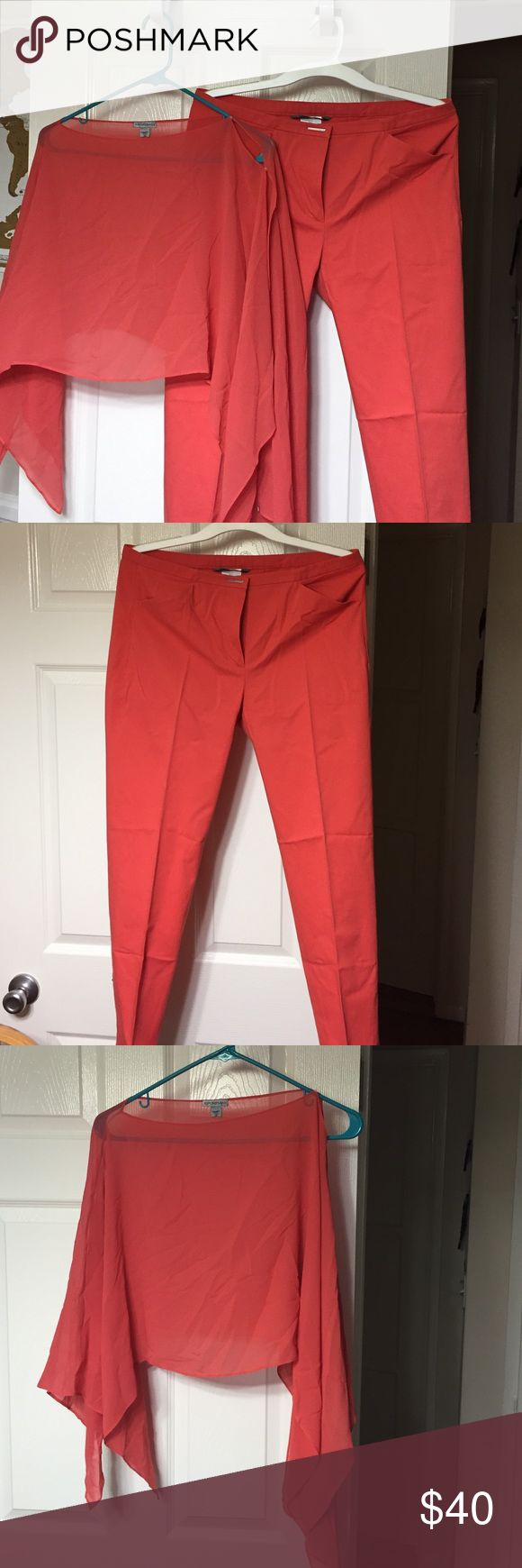 Coral pants with matching coral shoulder top Would go perfectly with  a white cami to break up the coral. Great for a weekend outfit or lunching with the ladies. Italian made and only worn once. From the sports line of Maxmara Sportmax  Pants Trousers