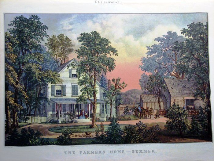 """Currier and Ives Print """"The Farmers Home"""" -- Summer"""