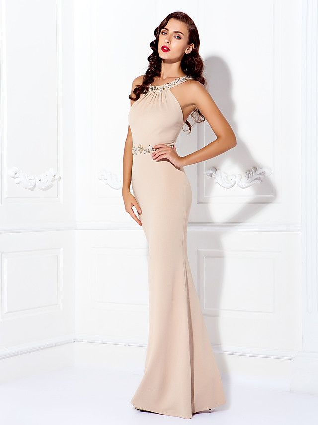 TS Couture® Formal Evening / Black Tie Gala Dress - Beautiful Back Plus Size / Petite Sheath / Column Jewel Floor-length Jersey with Beading  - GBP £83.99