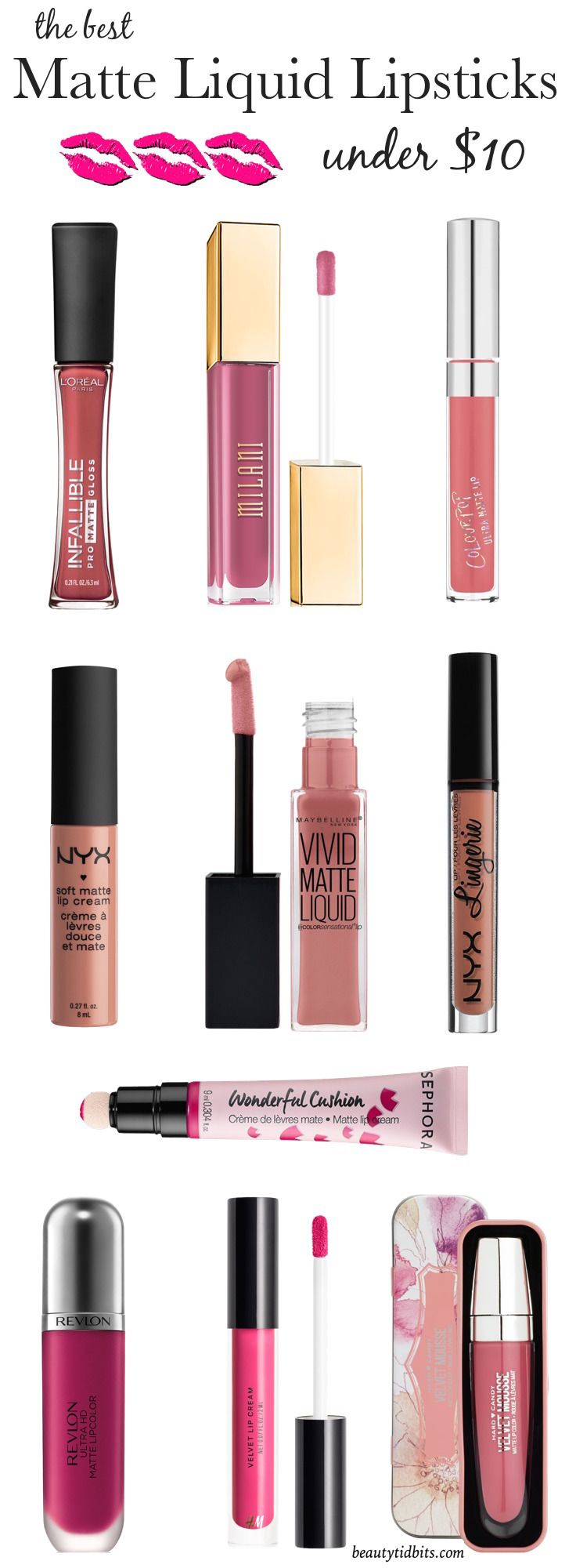 Best Matte Liquid Lipsticks (under $10) that are long-lasting and won't dry your lips! You NEED these! Click through to get the Ultimate list of drugstore liquid lipsticks you need right now!
