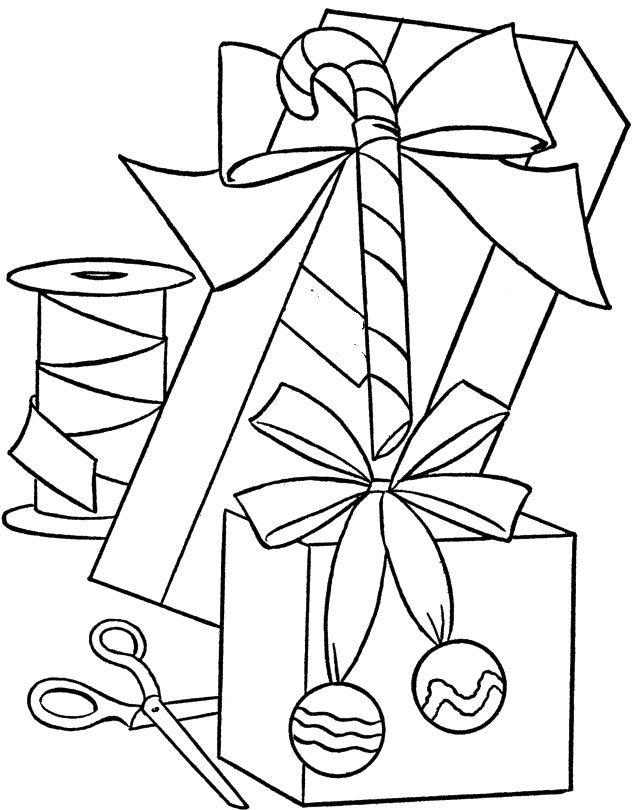 Christmas presents and other items coloring pages