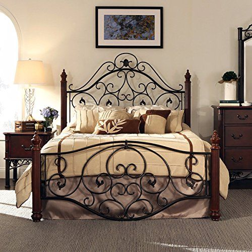 queen size antique style wood metal wrought iron look rustic victorian vintage bed frame cherry bronze - Antique Queen Bed Frame