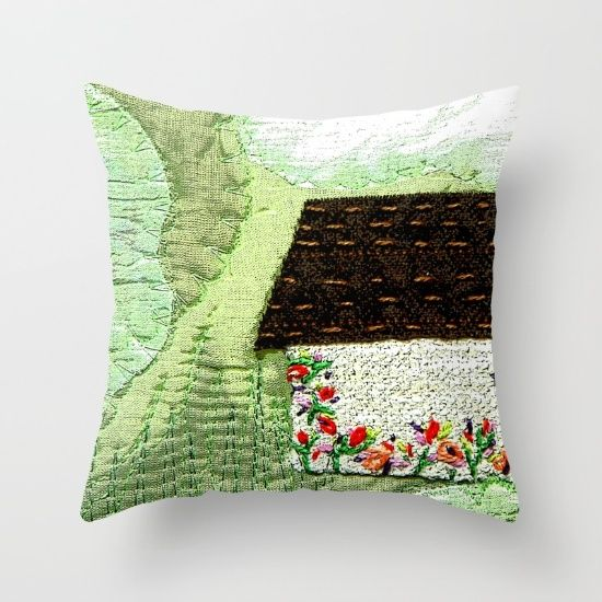Small Green Decorative Pillow : Little house in the green landscape Throw Pillow The o jays, Landscapes and Throw pillows
