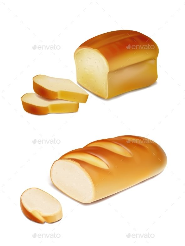 Bread Slices And White Loaf Realistic Illustration Bread Art Food Drawing Food Illustrations