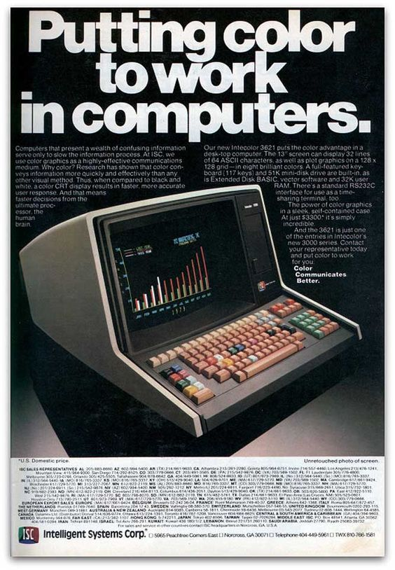 The ISC Intercolor 3621 computer could boast a color display 1979. #vintageads #Ads #vintage #PrintAd #tvads #advertising #BrandScience #influence #online #Facebook #submissions #marketing #advertising