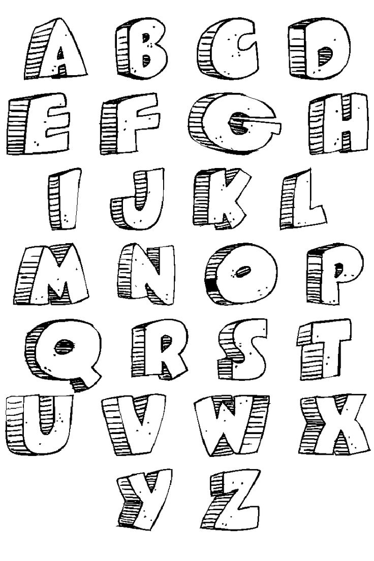 The Alphabet In Bubble Letters