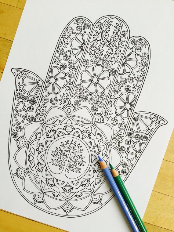Hand Drawn Adult Coloring Page Print Hamsa Tree Of By