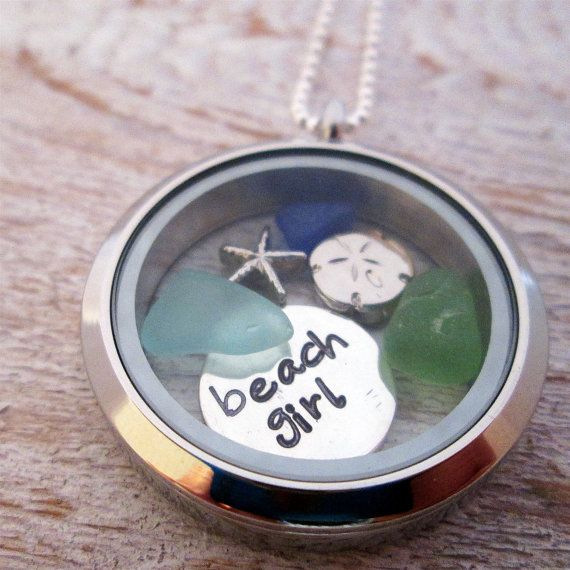 Beach Girl Necklace  Beach Girl Locket  Beach by JLynnCreations, $42.00