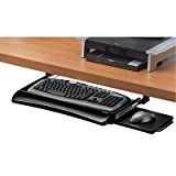 #ad Fellowes Office Suites Underdesk Keyboard Drawer, Black/Silver (9140303)  The height adjustable Fellowes Office Suites Underdesk Keyboard Drawer converts a conventional desk to an ergonomic workstation! Moves keyboard and mouse off the desktop to save workspace. Unit is easy to install and offers three different height adjustments to suit preferred work position. Mouse tray mounts on right or left side of keyboard tray or stows underneath keyboard tray when not in use.  The dept..