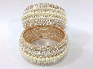 Stunning Bollywood Indian Costume Jewellery Bangles Kara Pearl Gold Stone Fancy