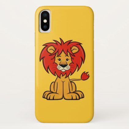 Cute Cartoon Lion iPhone X Case - animal gift ideas animals and pets diy customize