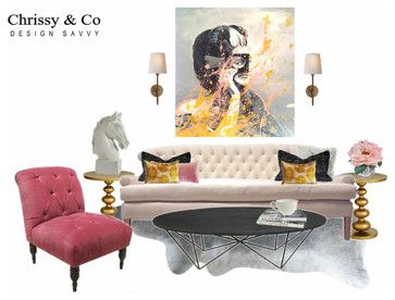 Contemporary chic living room by Chrissy & Co Design Savvy