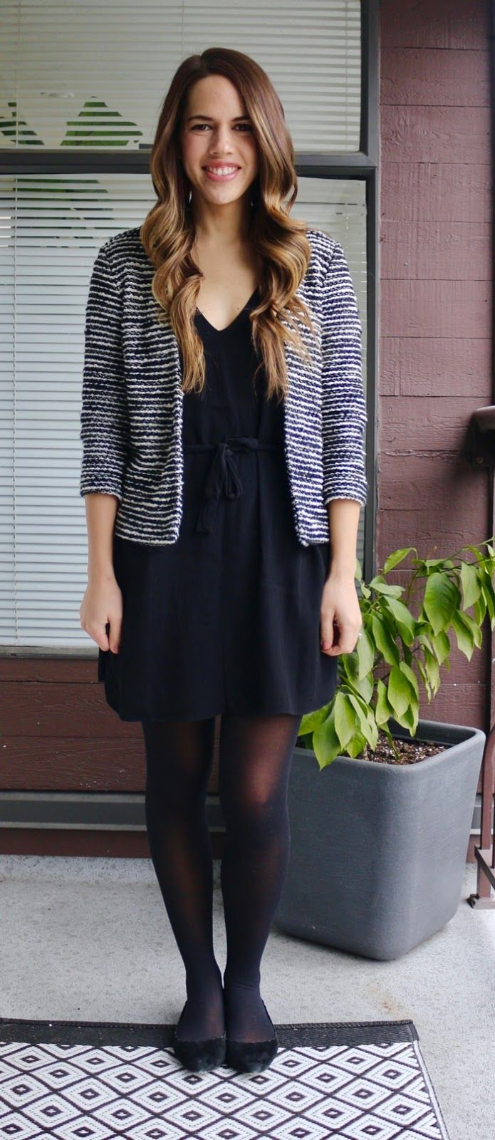 Jules in Flats – Black Tie-Waist Dress with Striped Jacket for Work