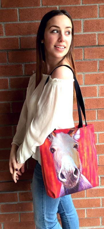 """Love this fun donkey tote bag! Perfect for a gym bag, carrying your craft supplies or a book/school bag! Making you smile and making your friends ask """"where did you find that!"""" Artwork on the bag is of an original painting by Kate Green.  Made by Kate Green Design - home decor and accessories"""