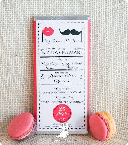 Invitatie de nunta ciocolata Mr & Mrs