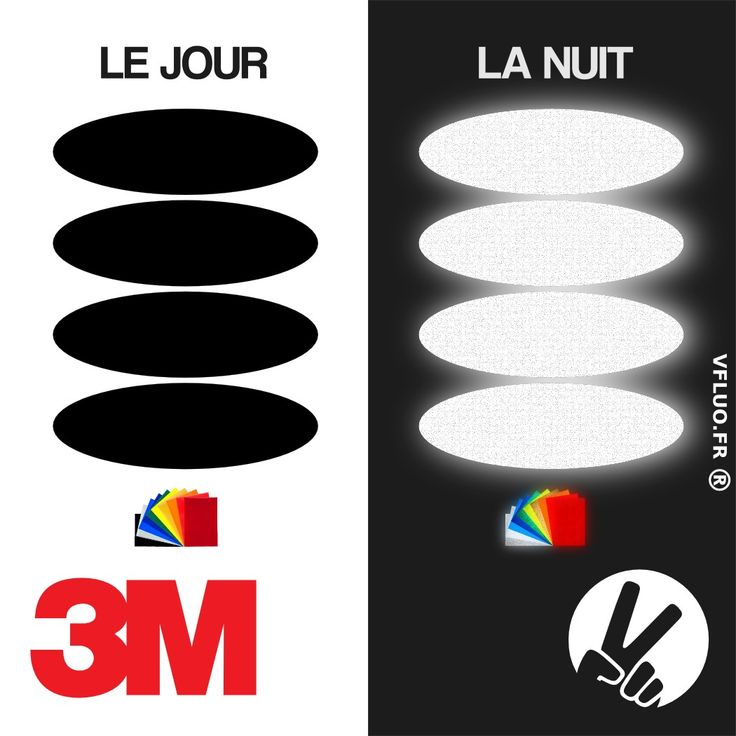 Stickers 3M™ - OVAL 1 - rétro réfléchissant casque moto noir / couleur