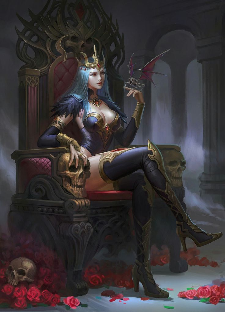 #artwork #skull #throne Sitting girl Fantasy girl
