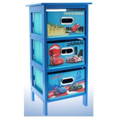 Disney Cars 2 Storage Cabinet 3 Drawer Bedroom Toys Cloths Kids Blue Furniture Amazon