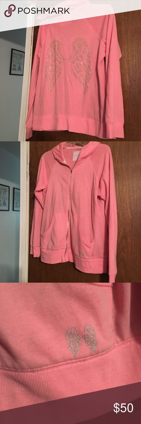 Pink Victoria's Secret Angel Zip Up Large Hoodie Pink Victoria's Secret VS Angel Zip Up Large Hoodie! Excellent condition! Just missing angel wings on the zipper. Pink with Silver Angel Wings - Rhinestone Bling! Victoria's Secret Tops Sweatshirts & Hoodies