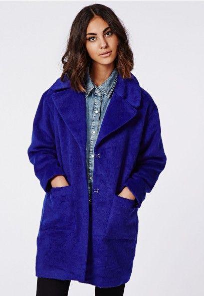 Lena Cocoon Coat Cobalt - Coats & Jackets - Missguided