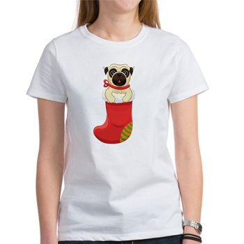 Christmas Pug Women's T-Shirt from cafepress store: AG Painted Brush T-Shirts. #pug #Christmas #dog #tshirt