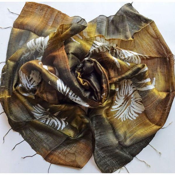 Brown Silk Shawl Hand Dyed Handwoven Batik Handmade Wedding Gift Wedding Accessories Light Weight Silk Shawl Natural Pure Raw Silk For Her (€26) found on Polyvore featuring women's fashion, accessories, scarves, silk shawl, silk scarves, brown shawl, brown scarves and shawl scarves