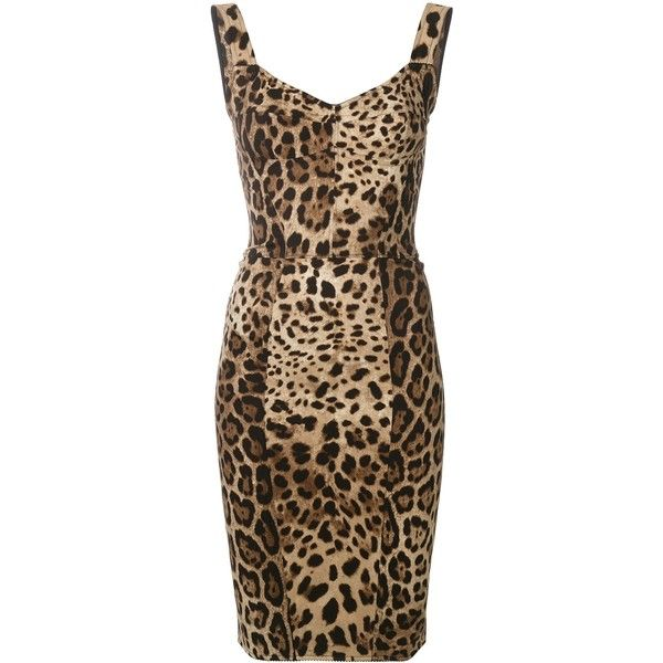 Dolce and Gabbana Leopard Bodycon Dress ($2,195) ❤ liked on Polyvore featuring dresses, clothing /, kirna zabete, leopard print bodycon dress, knee length dresses, sweetheart neckline cocktail dress, leopard print dresses and brown dress