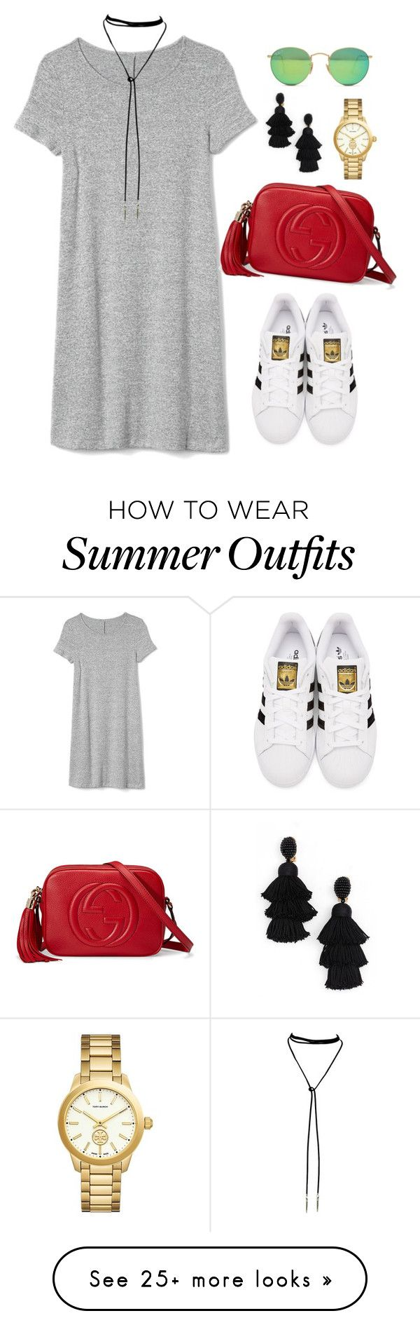 """Outfit 485"" by caa123 on Polyvore featuring Gap, Gucci, adidas Originals, Tory Burch, Oscar de la Renta and Ray-Ban"