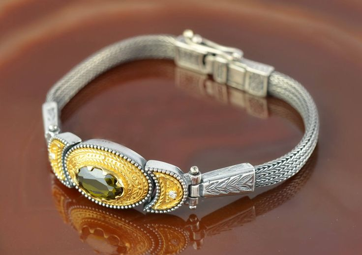 byzantine golden silver bracelet with green zircon, byzantine bracelet, byzantine jewelry, greek bracelet, antique bracelet, greek jewelry by GreekGoddessJewelry on Etsy